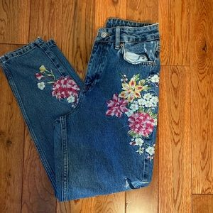 TopShop embroidered floral mom jeans